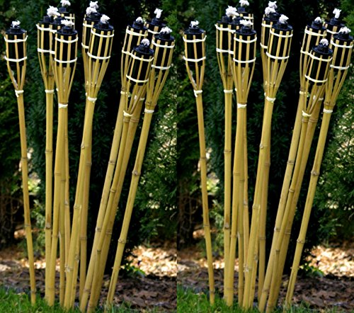 21 x Gartenfackel Holzfarben 120 cm Lange Bambusfackel STAR-LINE® Bambus Garten Dekoration Fackel Gartenfackeln Deko