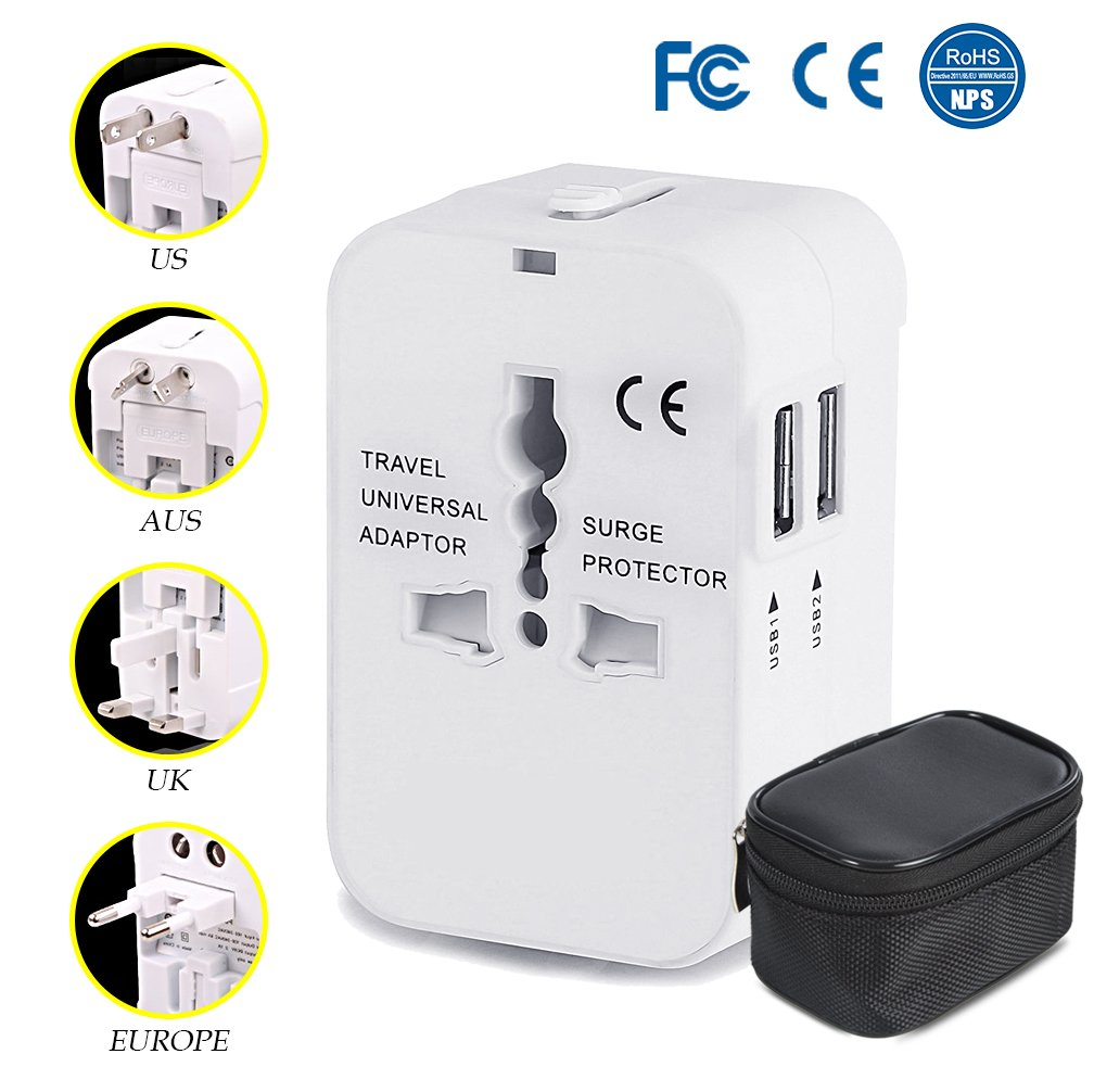 Travel Adapter All in One Universal Adapter for USA EU UK AUS Europe, AC Wall Outlet Charger Plug Adapter Converter, Worldwide Adapter with Dual USB Charging Ports for Cell Phone Laptop (White) by BiBOSS (Image #1)