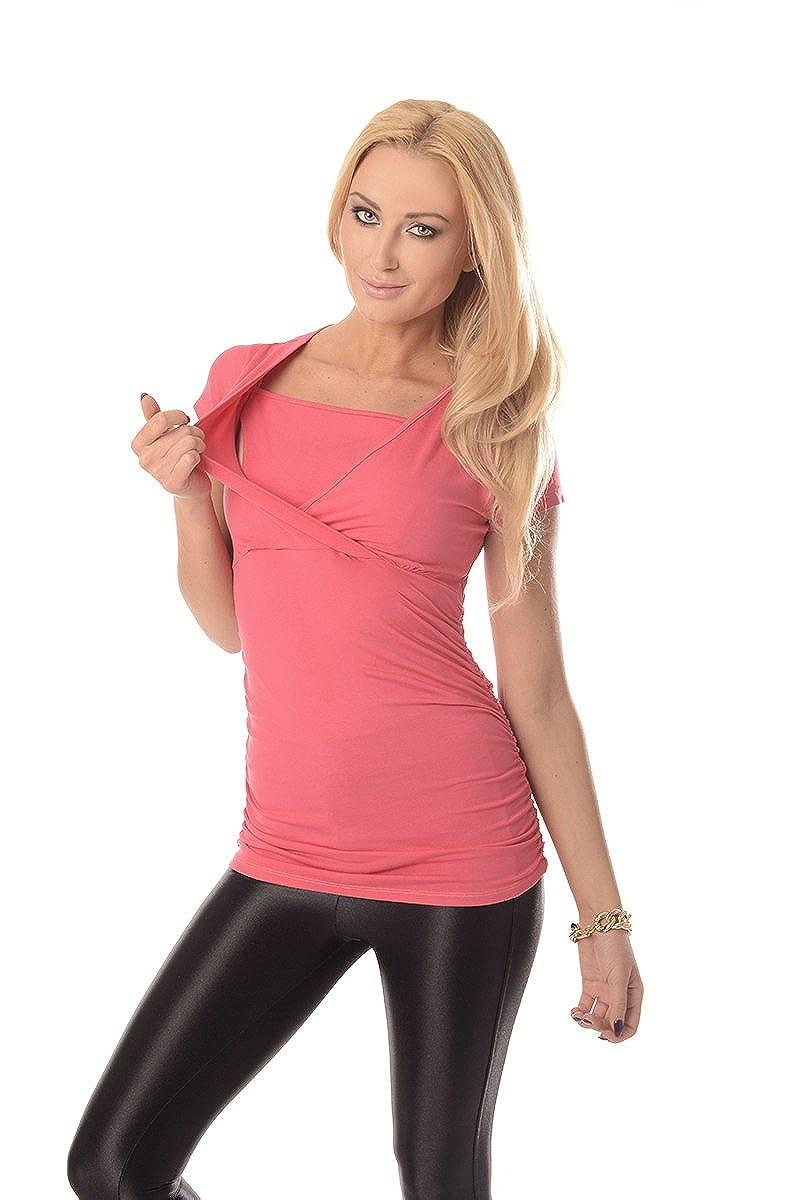 Purpless 2in1 Umstands und Still-Top Blouse Oberteil zum Stillen Kurzarm Damen Stillshirt Umstandskleidung Stillmode 7006