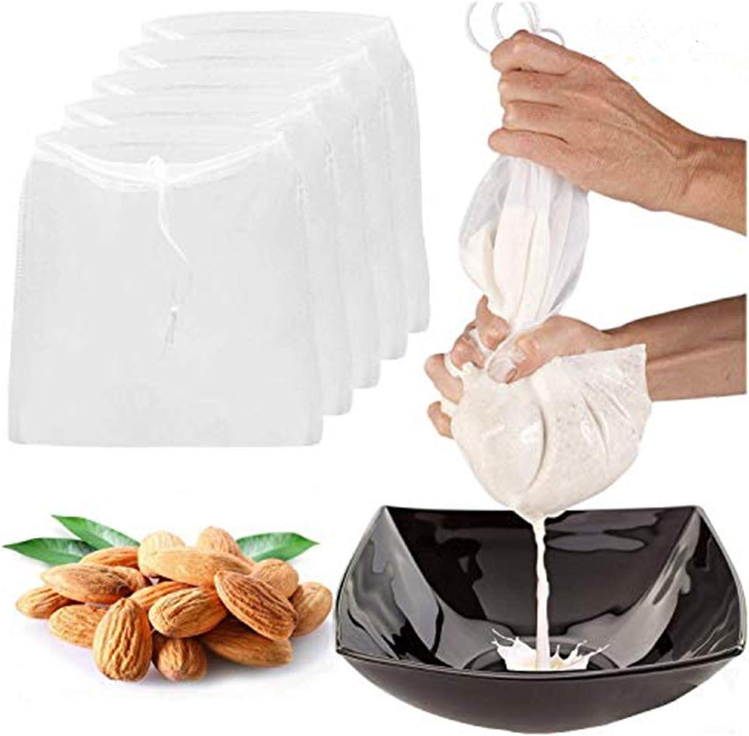 "5 Pcs Pro Quality Nut Milk Bag, LERORO 10"" x 12"" Reusable Fine Mesh Nylon Filter Strainer All Purpose Food Strainer for Almond, Soy Milk,Badam, Nut, Cashew, Walnut Milk, Juice and Cold Brew Coffee"