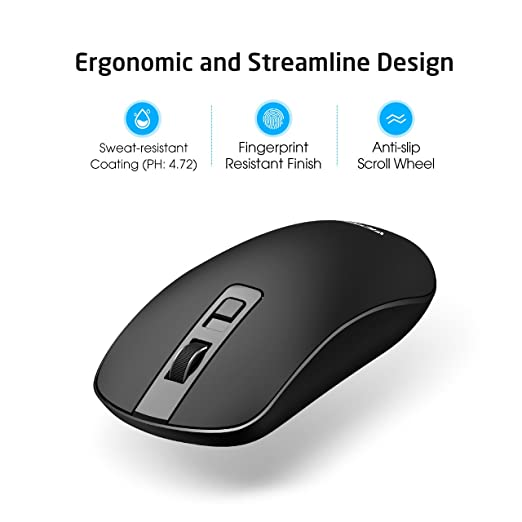 Best Overall: VicTisng 4-Button Wireless Silent Noiseless Click Mouse