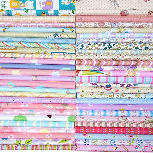 Quilting Fabric, Misscrafts 50pcs 12 x 12 inches (30 x 30 cm) Cotton Fabric Squares Bundle Patchwork Pre-Cut Quilt Squares for DIY Sewing Scrapbooking Quilting Dot Pattern ()