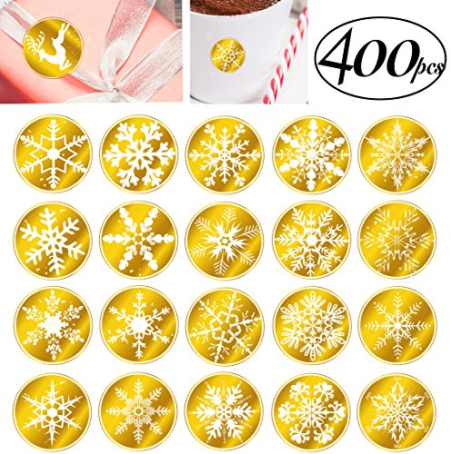 400 Snowflakes Stickers with 25 Christmas Designs for kids cards scrapbooking envelopes presents teachers, Merry Xmas Gift Labels Tin Father Christmas Decorations