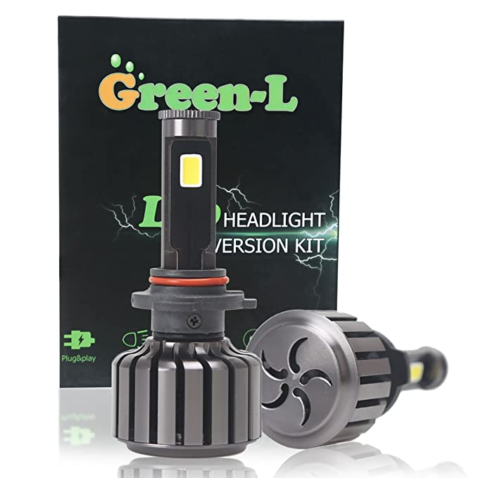 Amazon.com: 9005 LED Headlight Bulb,Green-L LED Headlight Bulbs COB LED Chip All-in-One 90W 9800lm High Low Beam 6000k Cool White 2 Yr Warranty(Pack of 2): ...