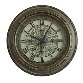 ZSLMX Clásico Mes Estrella Reloj De Pared Metal Redondo Hierro Americano Estilo De Antiguos Restauración De Mudo Relojes Hogar Sala De Estar Reloj Pared ...