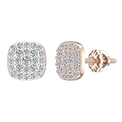 0c73bbded 18K Diamond Earrings Cushion Shape Pave Cluster Studs Rose Gold (0.50 ctw)  Carat Total