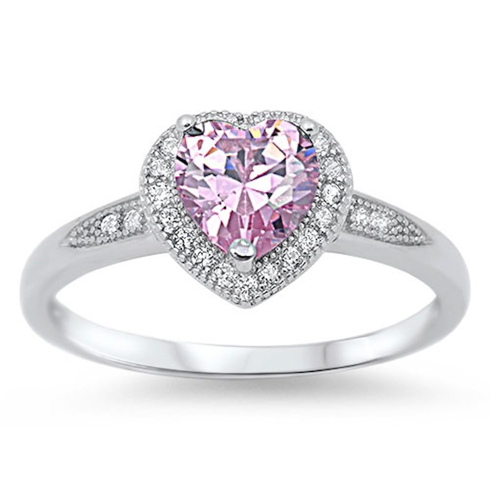 Oxford Diamond Co Pink Cz Heart Halo .925 Sterling Silver Ring Sizes 4-12