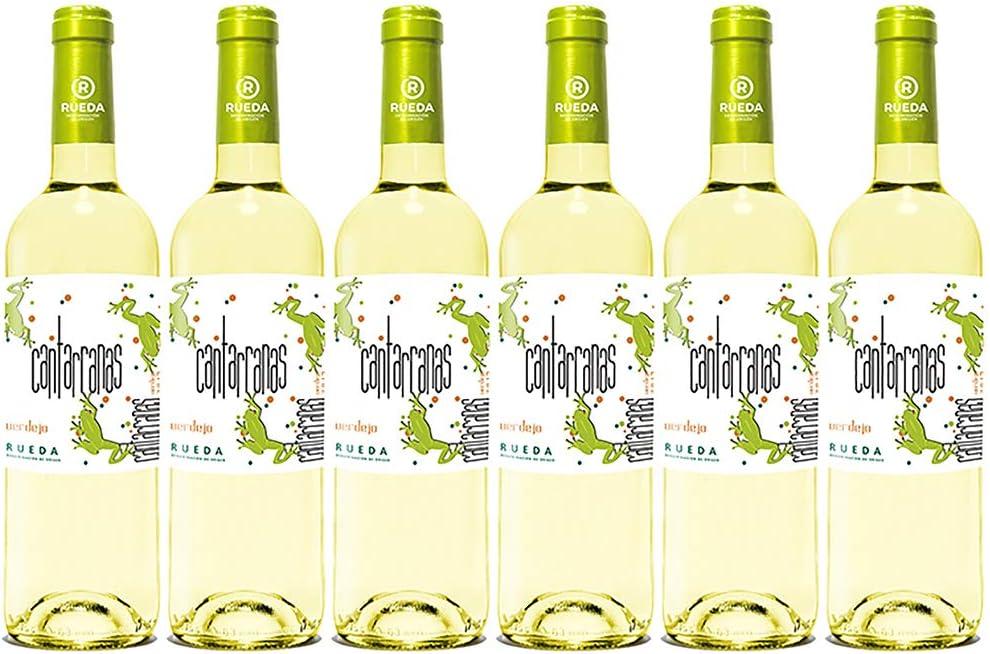 Cantarranas Verdejo, Vino Blanco D. O Rueda - 6 Botellas de 750 ml - (Total: 4.5 Lt) BODEGA CUATRO RAYAS