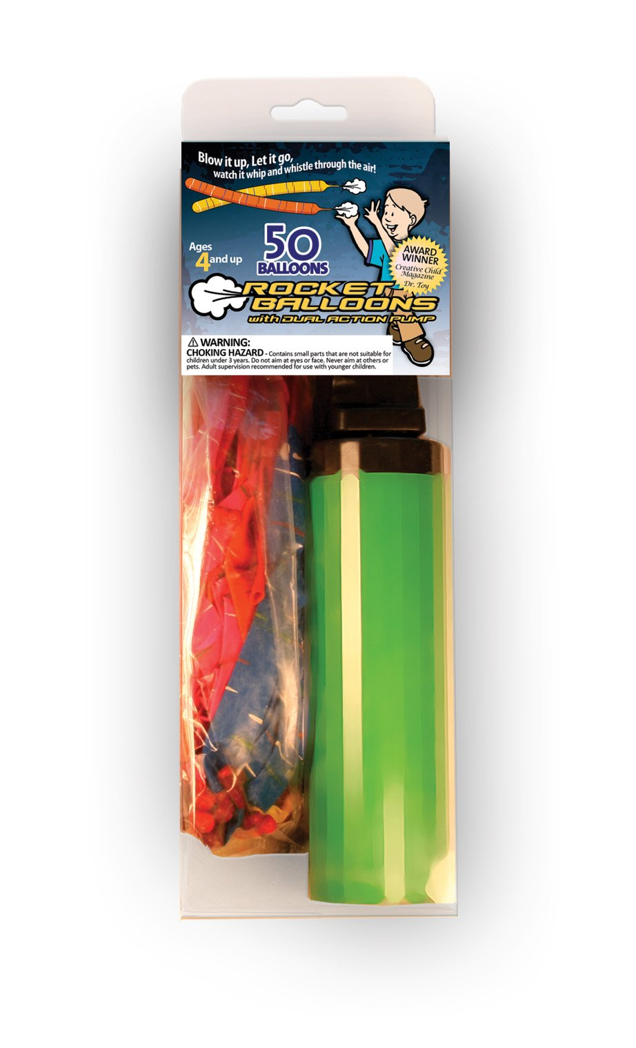 Rocket Balloons with Dual Action Pump, 50 Balloons (Colors May Vary)