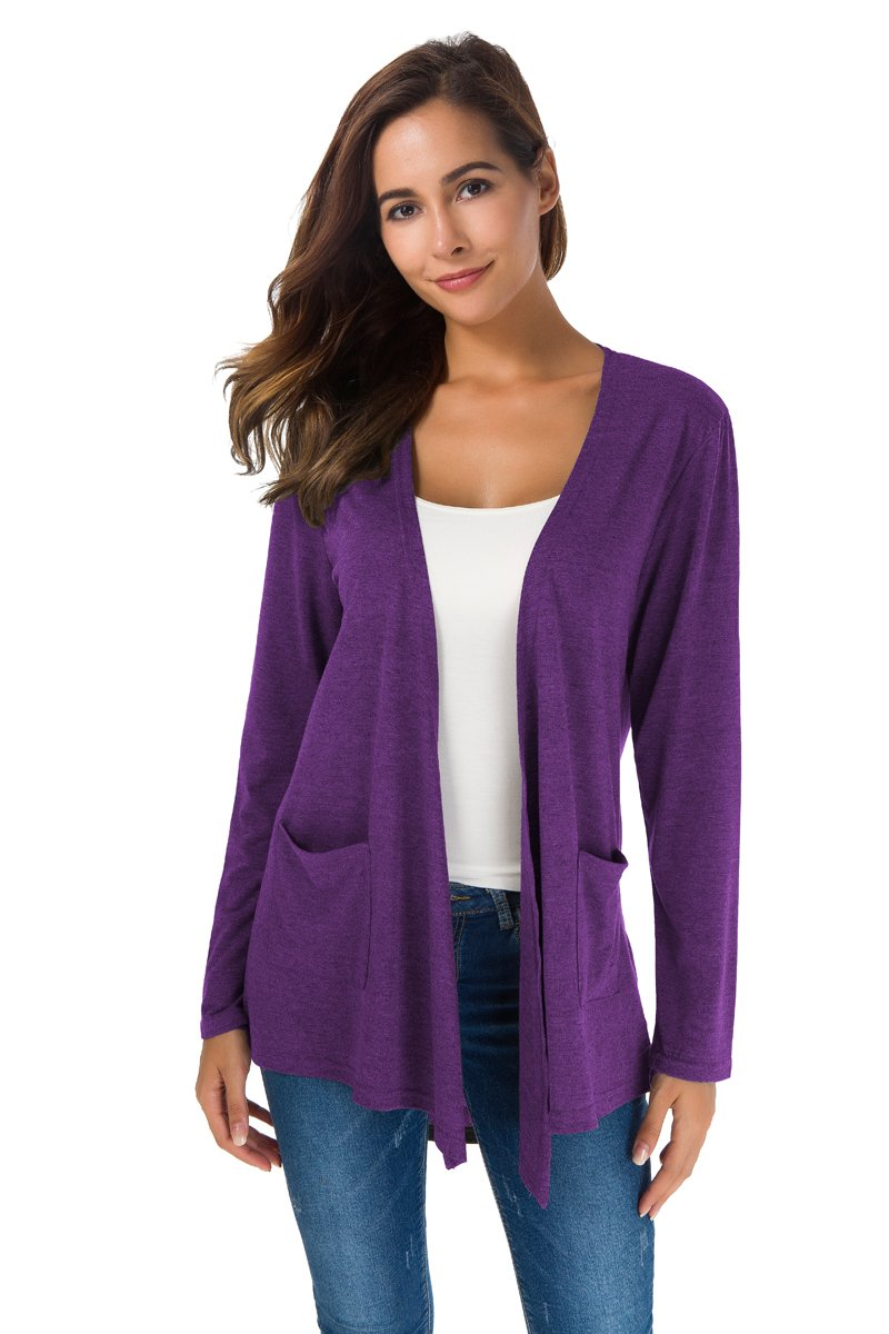 TownCat Women's Loose Casual Long Sleeved Open Front Breathable Cardigans with Pocket (Purple2, XL)