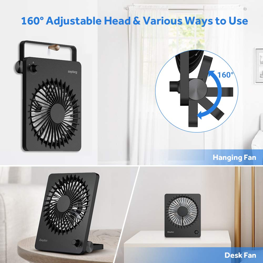 EasyAcc Rechargeable Battery Mini Desk Portable Fan 160° Rotation Office usb fan