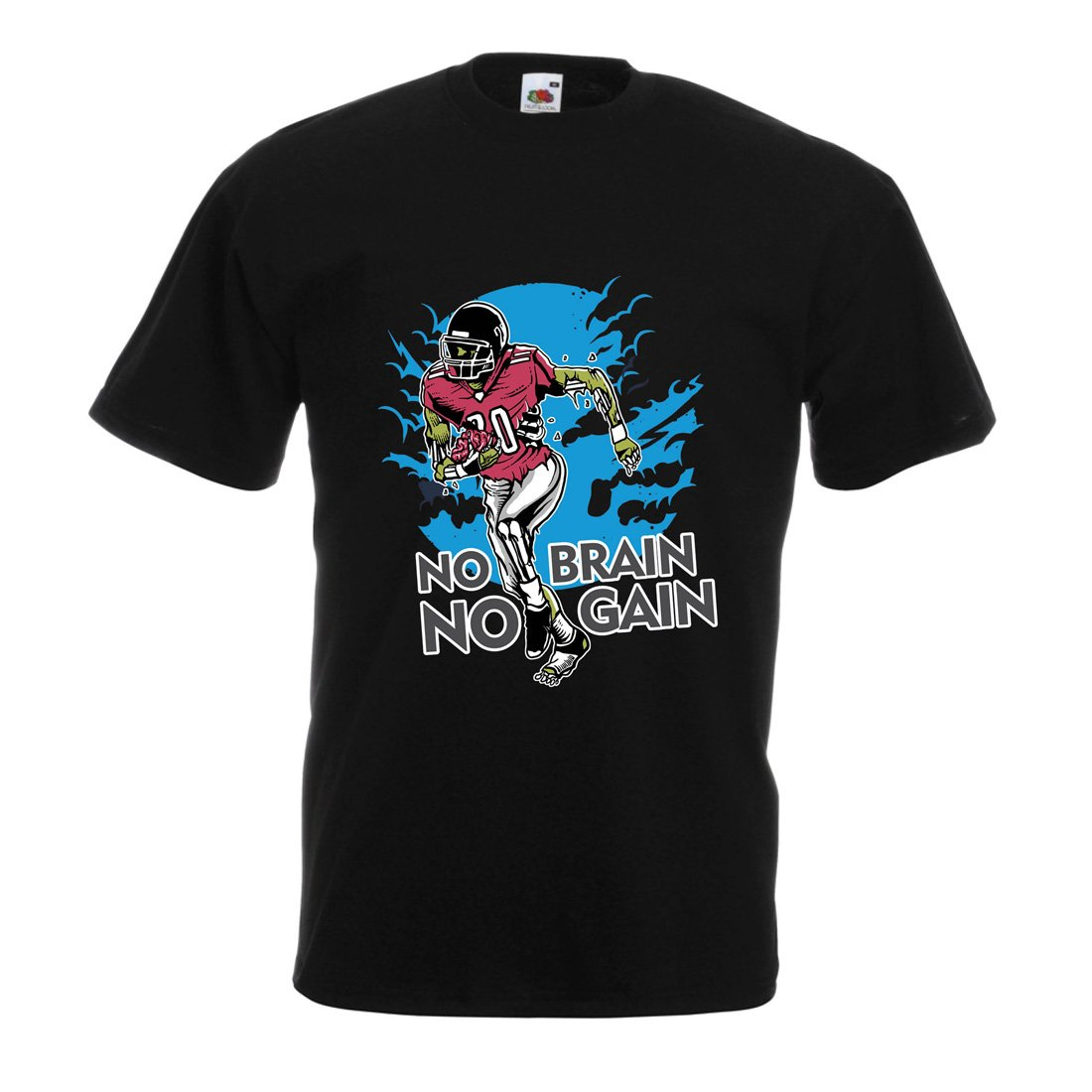 Zombie Football Player lepni.me Shirts for Men No Brain No Gain Inspirational Football Quotes
