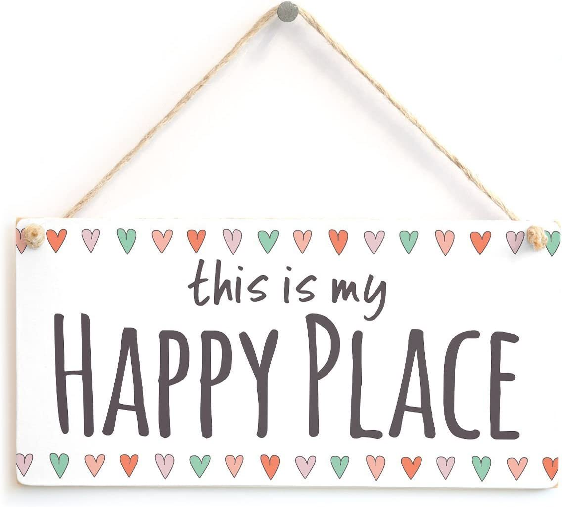 Meijiafei This is My Happy Place - Hearts Border Sign for Snug, Den, Family Rooms, Reading Room, Bedroom Wall 10