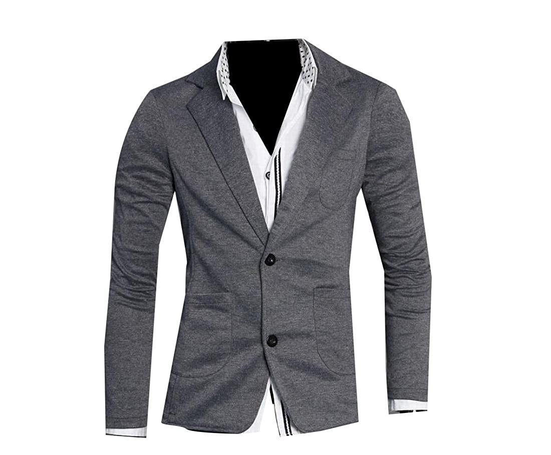 CrazyDay Mens Stylish Slim Summer Knitting Blazer Single Breasted Blazer Black