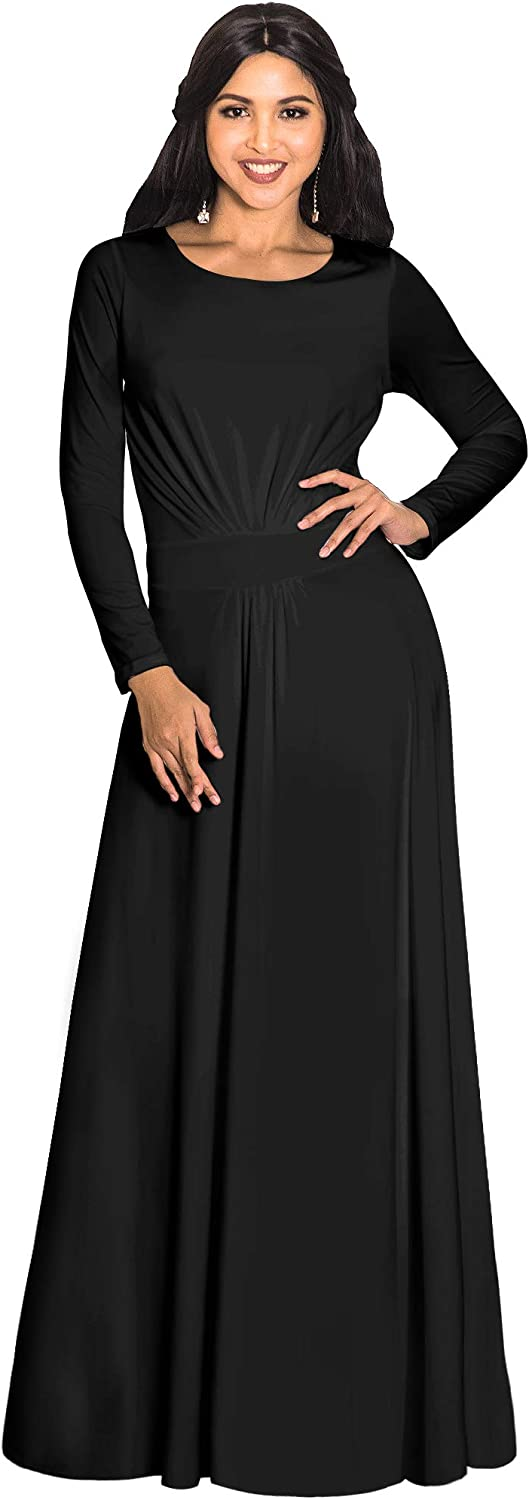 KOH KOH Womens Long Sleeve Flowy Empire Waist Fall Winter Party Gown