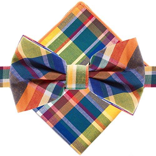 Multi Color Bow Tie (Man of Men - Bowtie & Pocket Square - Multi Color Plaid)