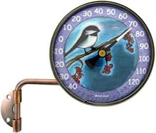 """product image for American Made 4"""" Wall Mount Swivel Copper Dial Thermometer with Chickadee Art"""