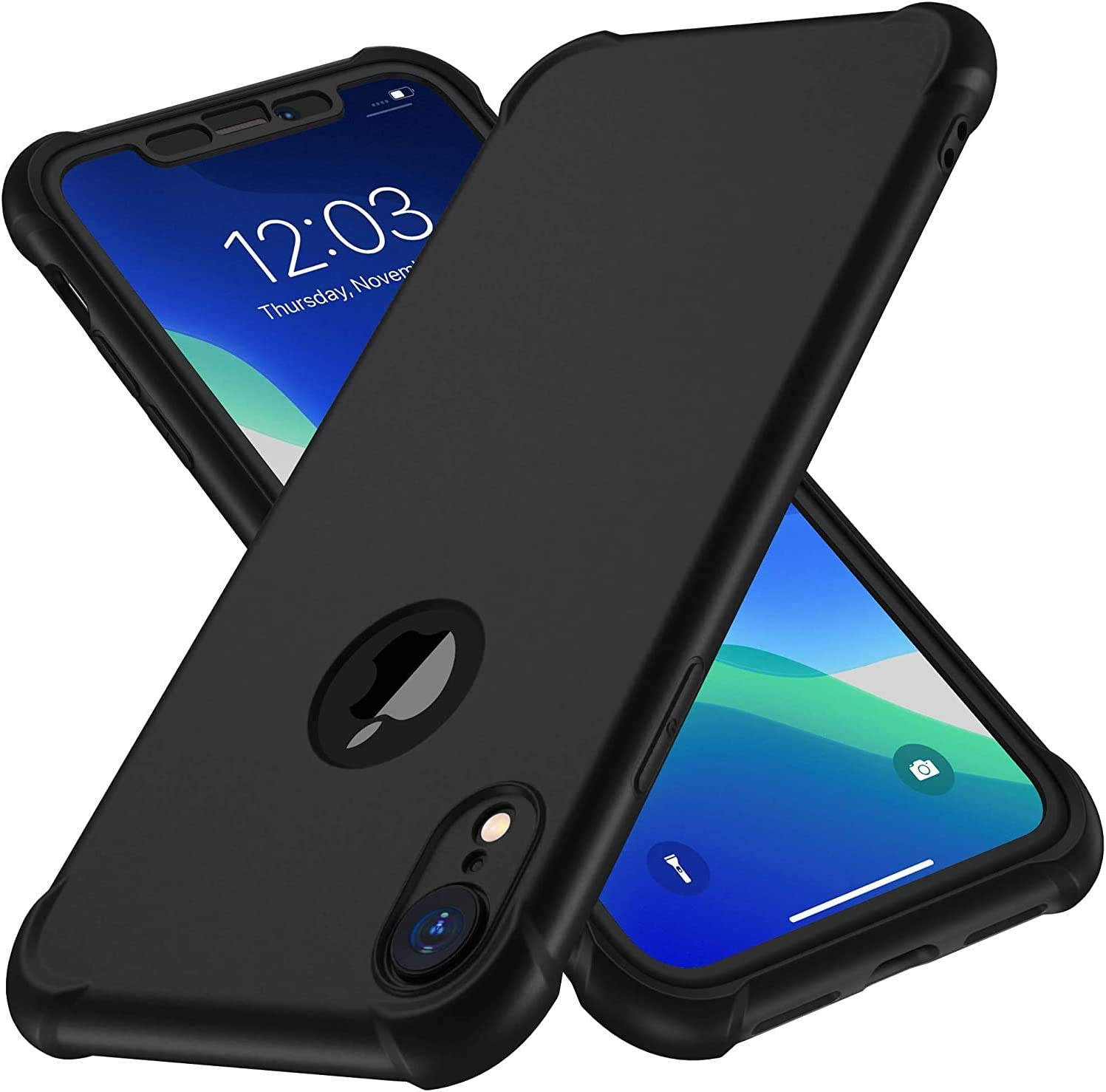 iPhone XR Case, with[2 x Tempered Glass Screen Protector] ORETech 360 Full Body Shockproof Anti Scratch Protection Cover Ultra Thin Hard PC Soft Rubber Silicone Case for iPhone XR 6.1'' 2018 - Black