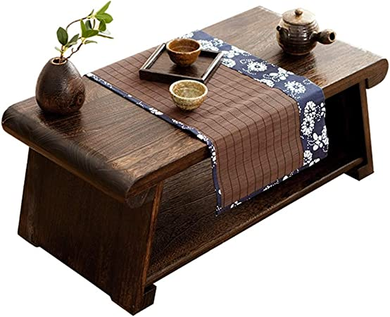 RCLD Mesas de Centro de jardín Plegable Mesa de té japonés Creativo Sencillo taiwanés Ventana Baja Antiguo pequeño Tatami Doble Muebles de Madera de Paulownia (Size ...