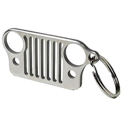 Cara Jeep Keychains Jeep Grille Keychain Key Chain Stainless Steel Silver Jeep Wrangler Grill Keychain Keyring CJ JK TJ YJ XJ: Automotive