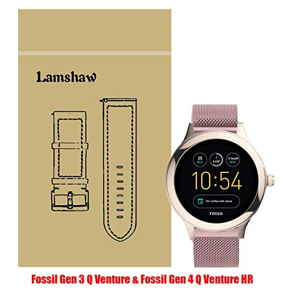 Lamshaw Smartwatch Band for Fossil Q Venture, Milanese Metal Stainless Steel Mesh Replacement Strap for GEN 3 SMARTWATCH/Fossil Gen 4 Q Venture HR - Q ...