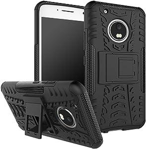 Moto G5 Plus Case,Moto G Plus (5th Generation) Case, DINGXIN [Shockproof] Tough Rugged Dual Layer Protective Case Cover [with Kickstand] for Motorola Moto G5 Plus (2017) (Black, Moto G5 Plus)