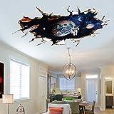 U-Shark 3D壁 ビニールの壁 ステッカー 自己接着性 取り外可能 [壊れ目] 壁画アートデカールデコレータ [並行輸入品] (9066A ギャラクシー宇宙飛行士 (60x90cm))