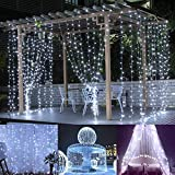 Ucharge Window Curtain Icicle Lights, 300 LED 8 Modes String Light for Christmas/Halloween/Wedding/Party Backdrops (White)