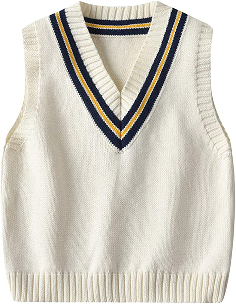 Jumper Kids Boys Girls Knitted Vest Sleeveless Knitwear Tank