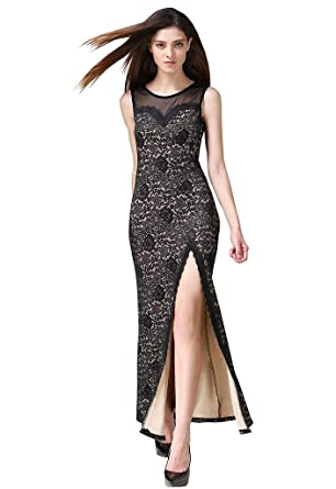 Buenos Ninos Womens Sleeveless Floral Lace Split Side Long Evening Gown Dress Nude S