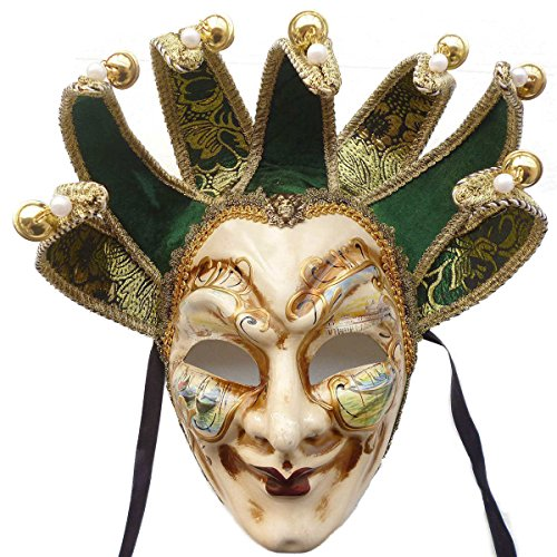 Mardi Gras Venetian Masks (ZjpMask Green Full Face Venetian Jester Mask Masquerade Mardi Gras Wall Decorative Art Collection)