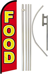 Infinity Republic - Food Windless Full Sleeve Banner Swooper Flag & Pole Kit - Perfect for Restaurants, Diners, Food Trucks, Markets etc!