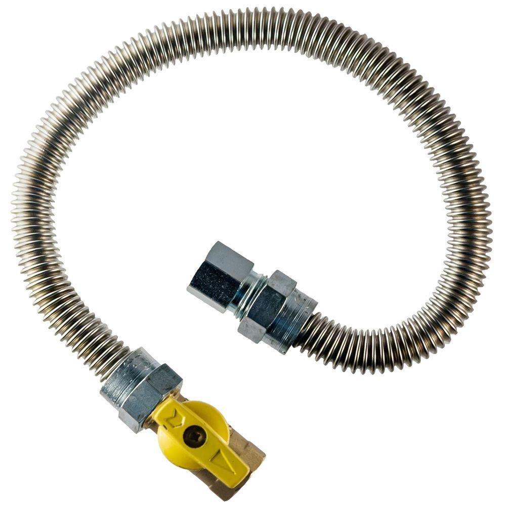 Home-Flex 3/8 In. Fip X 1/2 In. Fip Gas Valve X 36 In. Stainless Steel Dryer Connector