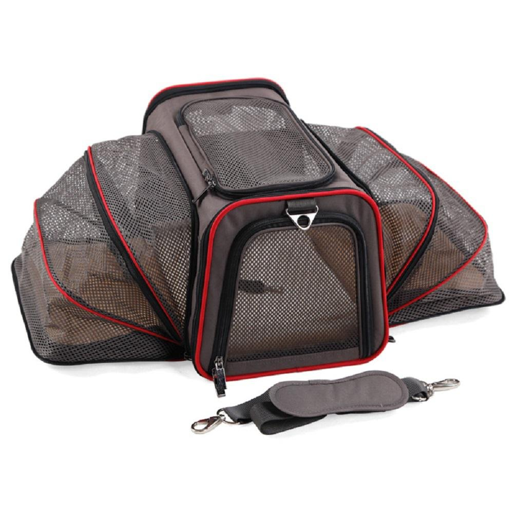 4 Large 4 Large Expandable Dog Cat Travel Pet Carrier , Designed for Cats, Dogs, Kittens, Puppies Extra Spacious, Comfortable, Soft Sided Travel Carrier
