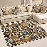 ALAZA Educational Bookshelf Area Rug Rugs for Living Room Bedroom 5'3 x 4'