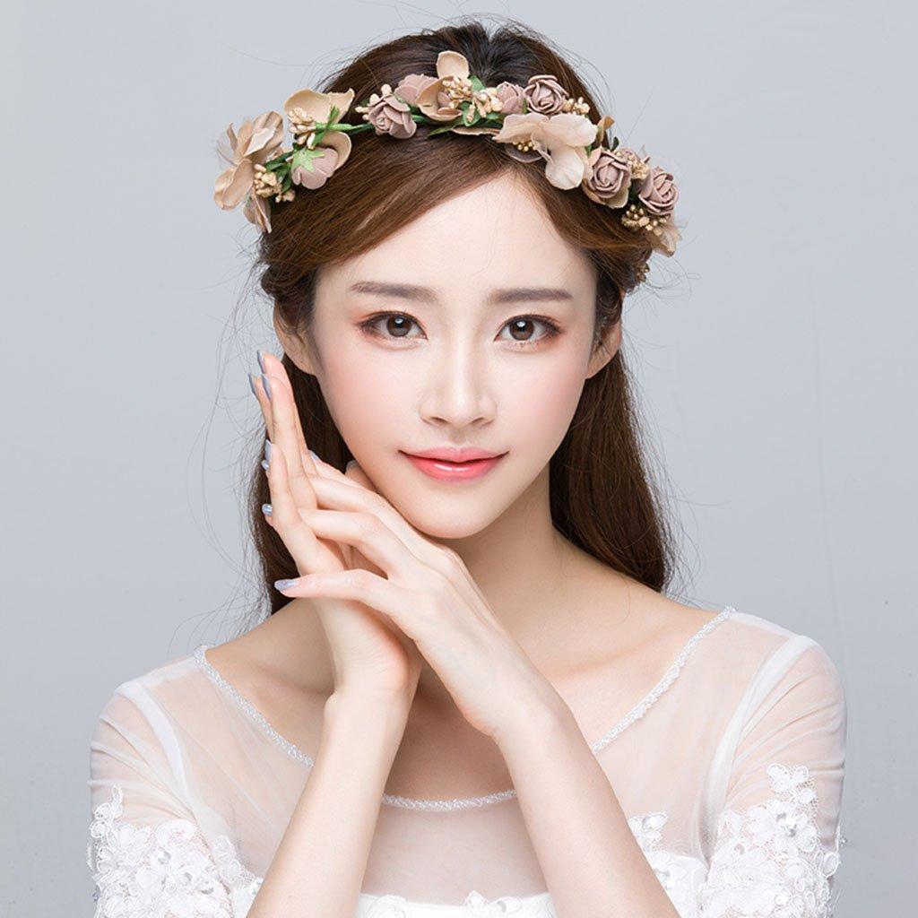 Wreath Flower, Headband Flower Garland Handmade Wedding Bride Party Ribbon Headband Wristband Hairband-Brown (Color : Brown)