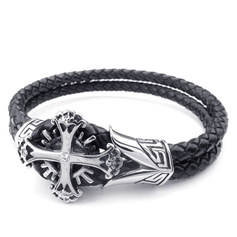 Vintage Gothic Cross Charm Cuff Biker Bangle Black Silver TEMEGO Jewelry Mens Leather Braided Stainless Steel Bracelet