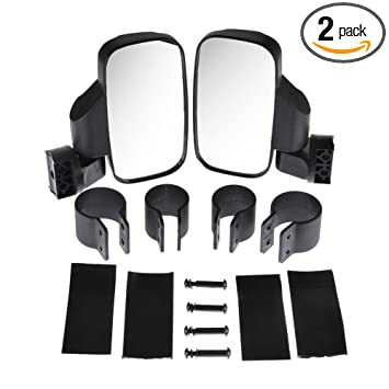 Rear View Side Mirror for UTV For 1.6-2 Roll Cage Bar Break Away w//Adjustable Arm Pack of 2 High Impact Shatter Proof Tempered Glass