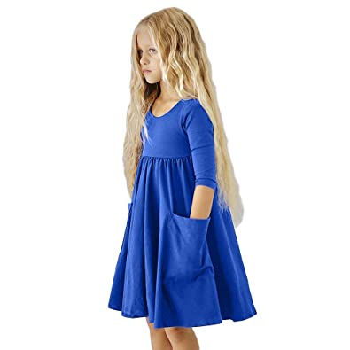 19288464c52 Janly Child Clothes Set, Girl Plain Tunic Dress Pockets Pullover Toddler  Casual Long Sleeve Dresses