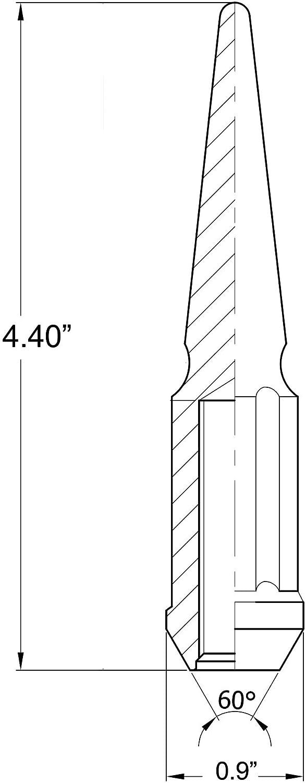 Wheel Accessories Parts 32 Pc Chrome Kit Spline Spiked Solid Metal Lug Nuts 14x2.0 Black Thread 4.4 Tall Closed End Bulge Acorn Spike Lug Nut and 1 Long Socket Key
