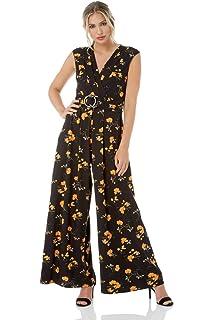 dc01f29c34d Roman Originals Women Floral Waist Belt V-Neckline Full Length Wide Leg  Jumpsuit - Ladies Party Fashion Jumpsuits for Formal Parties Weddings…