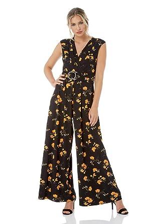2a955eb152e Roman Originals Women Floral Waist Belt V-Neckline Full Length Wide Leg  Jumpsuit - Ladies