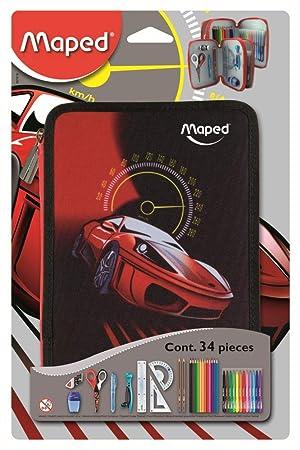 Maped Cars - Plumier con 34 piezas, dos pisos, color rojo y negro