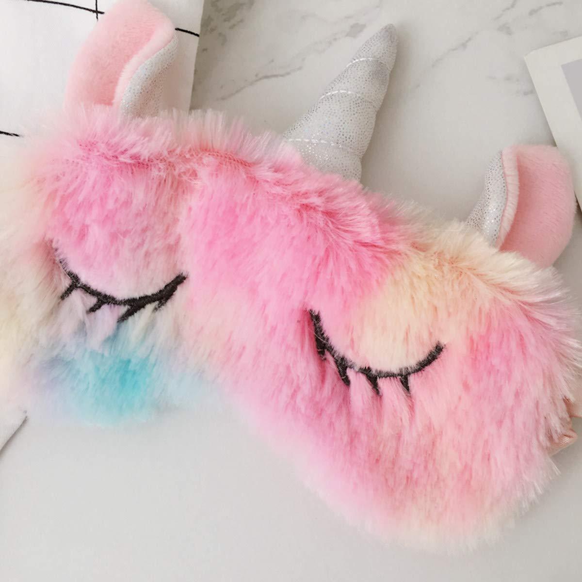 Monai Cute 3D Sleep Mask Plush Animal Sleeping Home Eye Cover for Women Girls (Unicorn)