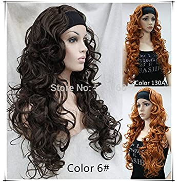 Amazon.com   European and American fashion custom caps entire half without  bangs wig 3 4 wig scarf and long curly hair wig style Ireland   Beauty 5a6b325a6d