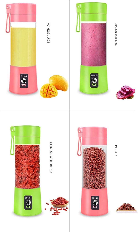 SZJY Portable Blenders, Portable Mini-centrifugeuse Domestique Multifonction Petit mélangeur USB Tasse de jus Rechargeable-Vert pour la Nourriture, Le Travail, Vert Vert
