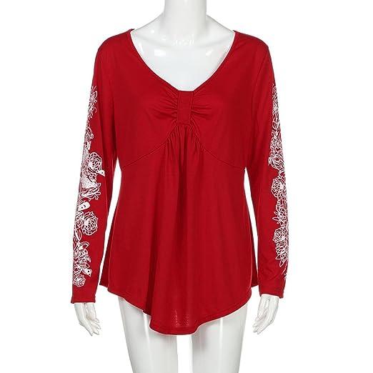 blusas mujer tallas grandes baratas, Sannysis camisetas manga larga flor decoración elegantes mujer invierno blusa fiesta mujer originales de otoñal dobla ...