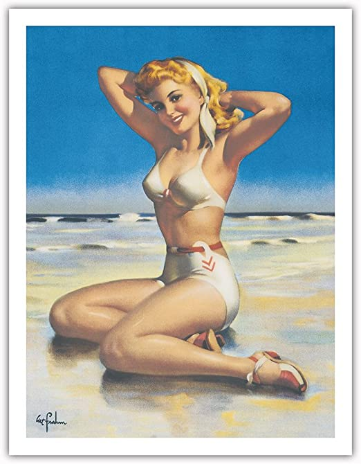 18x24 Vintage Reproduction Beautiful Pinup Blond  With Pink Bikini Poster