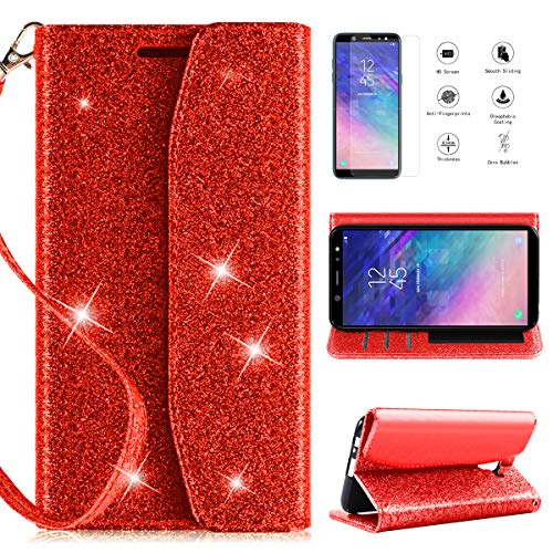 (Samsung Galaxy A6 Wallet Case 2018,CaseRoo [Kickstand][Card Slots][Wrist Strap] [Shockproof] Glitter Magnetic Flip PU Leather Bling Protective Phone Case Cover w/Cosmetic Mirror for Girls Women,Red)