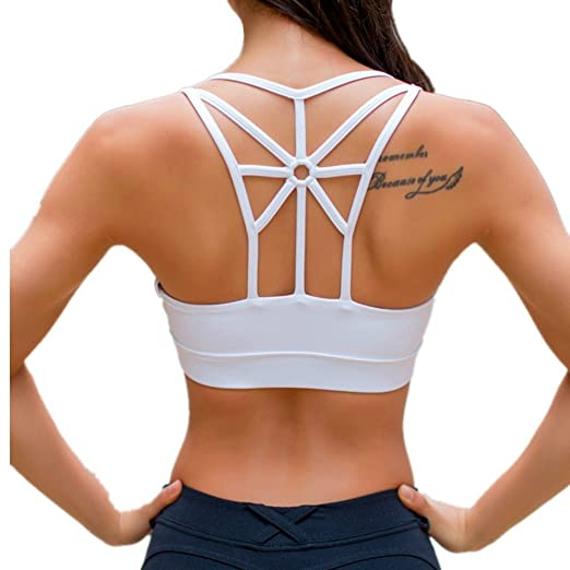 c9dc925e3ff56 Amazon.com  LYZ Women s Padded Sports Bra Criss Cross Back High Impact  Strappy Yoga Bra  Sports   Outdoors